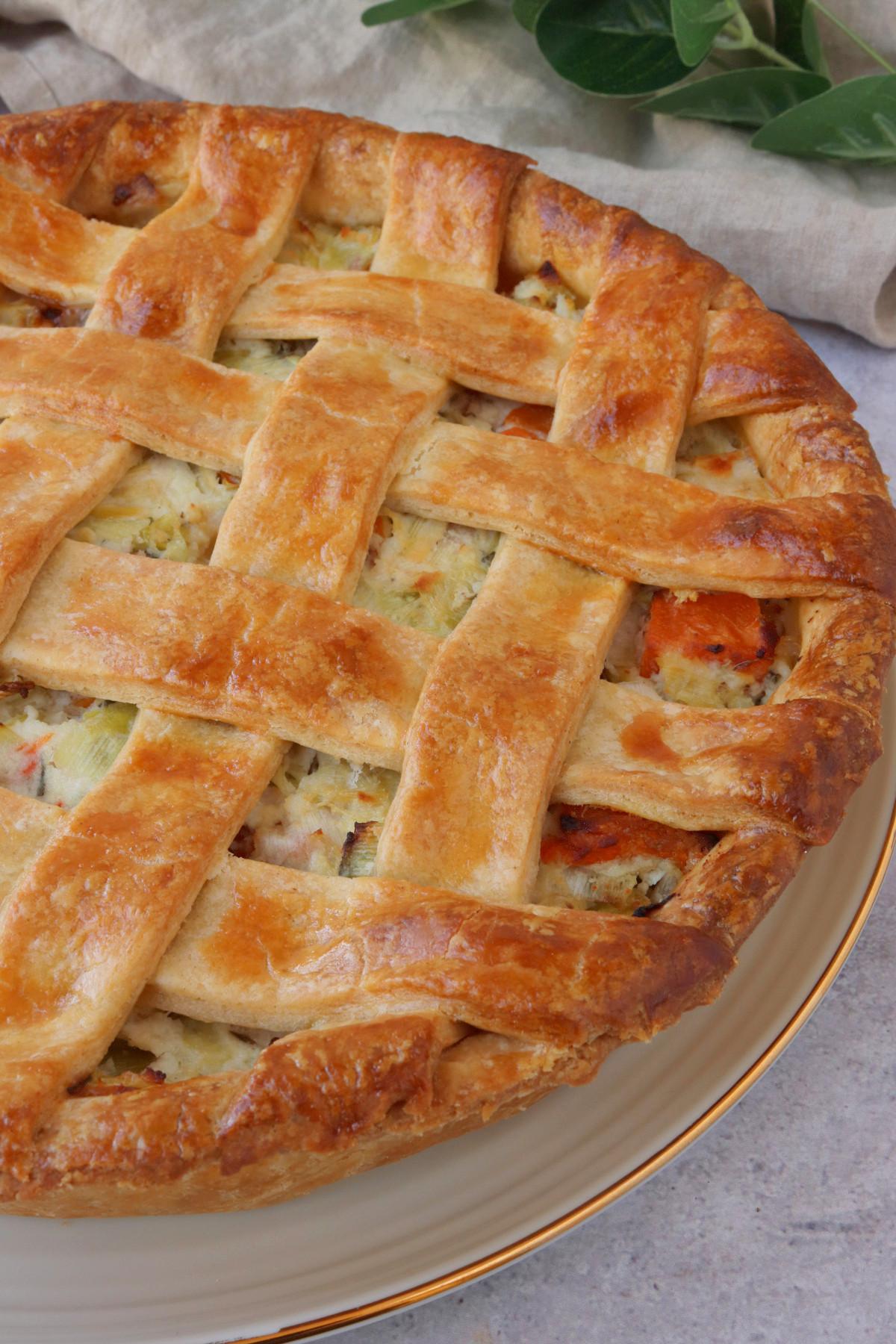 Butternut Squash, Leek & Ricotta Lattice Pie